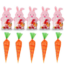 10pcs Easter Party Decorations Carrot Candy Cone Bags Pink Rabbit Box Cookie DIY Gift With Greeting Cards