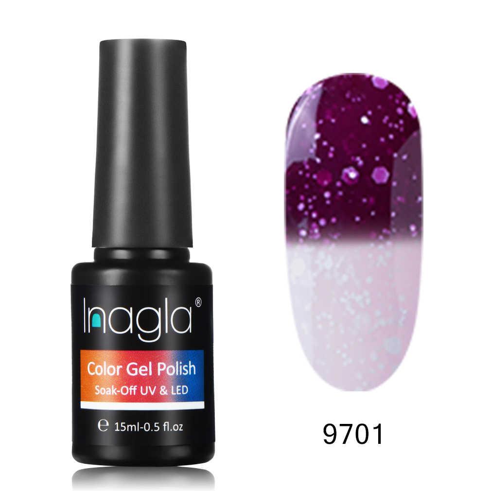 Inagla, temperatura de nieve, cambio de Color, 15 ml, esmalte en Gel para manicura, barniz en Gel LED UV, esmalte para uñas de larga duración