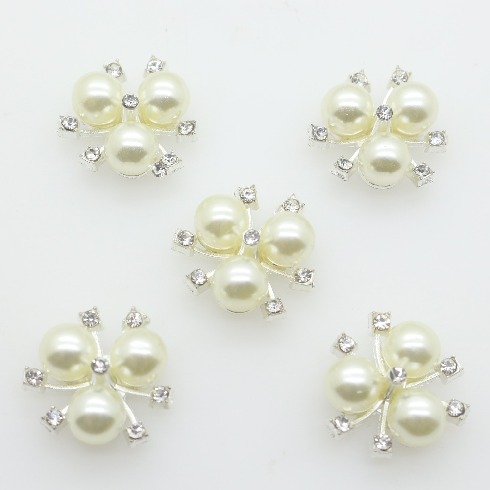 Us 3 35 16 Off 10pcs Lot Rhinestone Pearl Buttons For Girl Hair Wedding Invitation Card Crystal Sewing Buttons Dress Crafts Jewelry Accessories In
