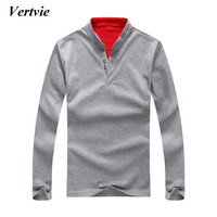 Vertvie Brand Men's Sports Shirt Solid Breathable Mandarin Collar Cotton Full Sleeve Running Sportswear Fitness Sport Outfit