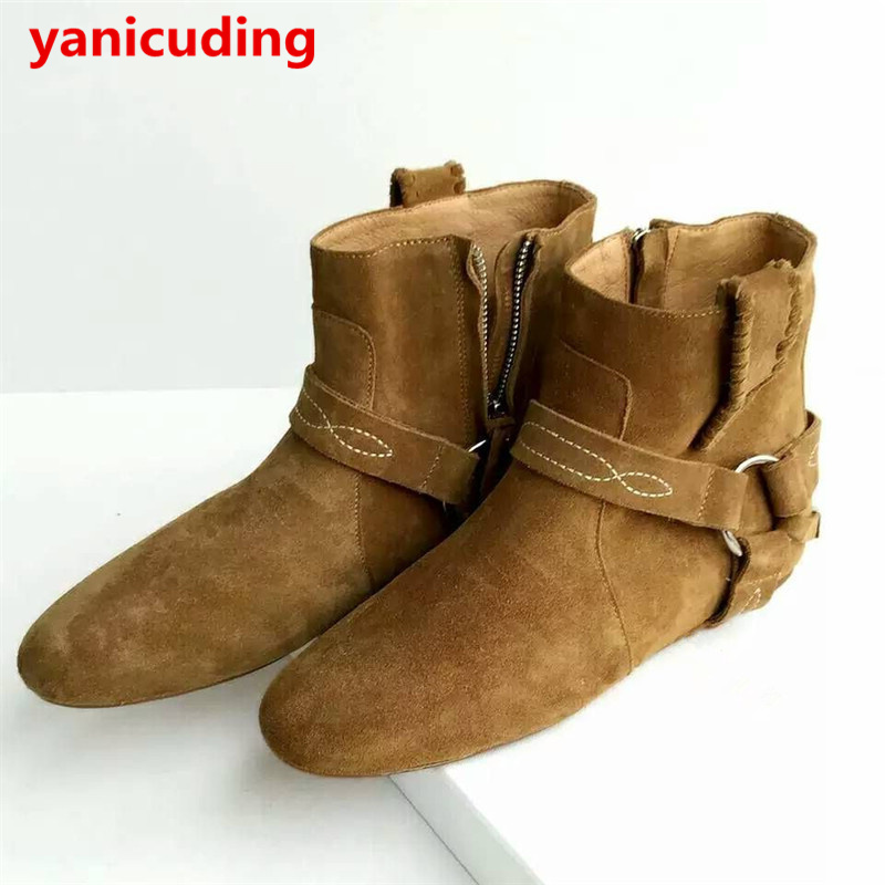 Hot Round Toe Ankle Boots Women Cow Suede Metal Short Boots Zip Design Runway Autumn Winter Mujer Shoes Woman Flat Casual Boots casual metal and flat heel design short boots for women