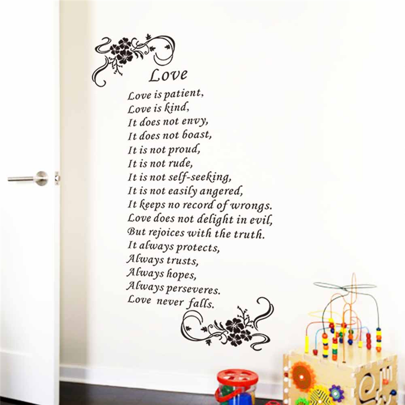 Love Is Patient Love Is Kind Love Never Falls Christ Bible Quotes Wall Art  Stickers Bedroom Wedding Gift Removable Decals Vinyl In Wall Stickers From  Home ...