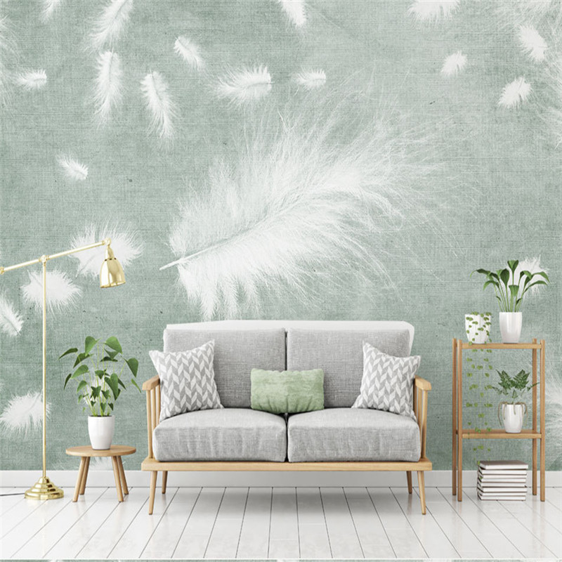 3D Custom Wall Murals Europe Style Photo Wallpapers White Feather Walls Papers for Living Room Home Decor Painting Bedroom Mural shinehome sunflower bloom retro wallpaper for 3d rooms walls wallpapers for 3 d living room home wall paper murals mural roll