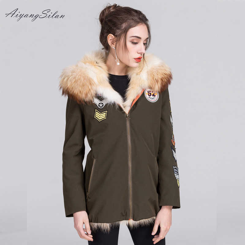 AiyangSilan Real Fox Fur Parka Hooded Short Liner Jacket Women Coats Female Winter Coat Warm Ladies
