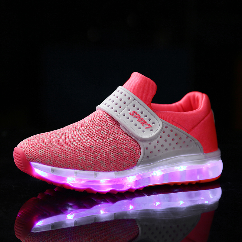 Children Breathable Sneakers Fashion Sport Led Usb Luminous Lighted <font><b>Shoes</b></font> for Kids Running <font><b>Shoes</b></font> Boys Girls Casual Flats