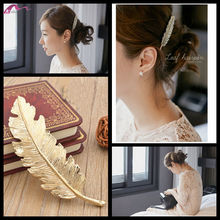 Fashion Vintage 2016 New 18K Gold plated Golden Feather Leaves Hairpin Hairclip Hair Accessories For Women Bride Hairwear