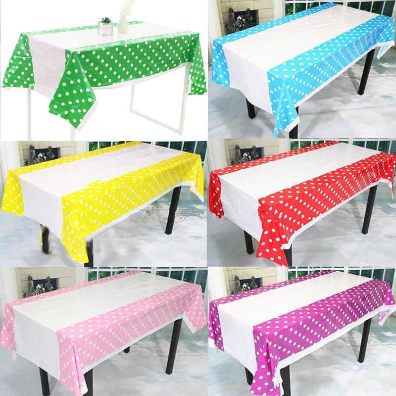 108*180 Cm Polka Dots Pesta Plastik Taplak Meja Menutupi untuk Anak-anak Ulang Tahun Rumah Dekorasi Meja 899