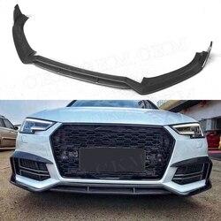 Wyścigi samochodowe dwuwarstwowy z włókna węglowego przedni spojler zderzaka Spoiler Splitters dla Audi A4 S4 B9 2017 2018 2019