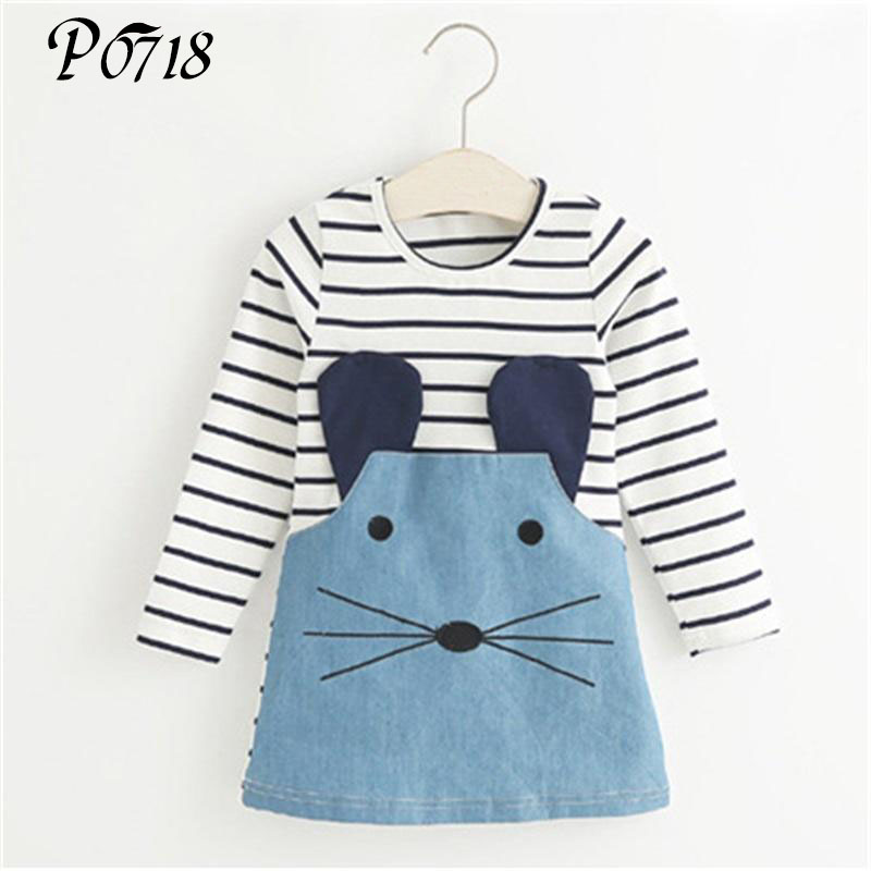 New 2018 Striped Patchwork Character Girl Dresses Long Sleeve Cute Mouse Children Clothing Kids Girls Dress Denim Kids Clothes