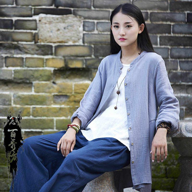 2019 新到着の女性のファッション長袖春秋襟ヴィンテージコットンリネンロングブラウスシャツ
