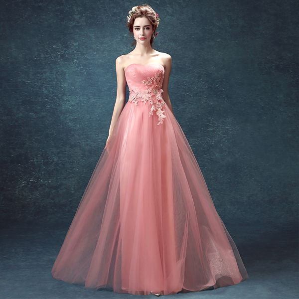 z 2016 new arrival stock maternity plus size bridal gown evening dress sexy  flowers romantic Pink Long Costume 2427-in Evening Dresses from Weddings ... 968f489d2850