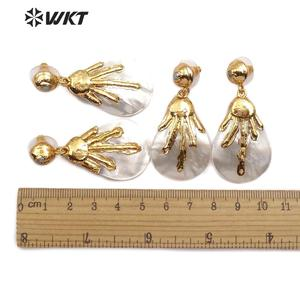 Image 5 - WT E544 Natural White Shell Earring Teardrop Shell Pendant With Gold Capped Women Elegant Earring Sea Shell Jewelry