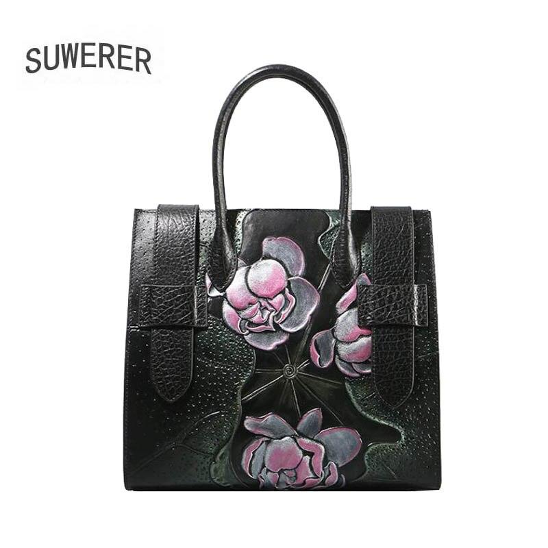 SUWERER new Genuine Leather women bags Butterfly embossed Fashion luxury handbags women bags designer women leather handbags
