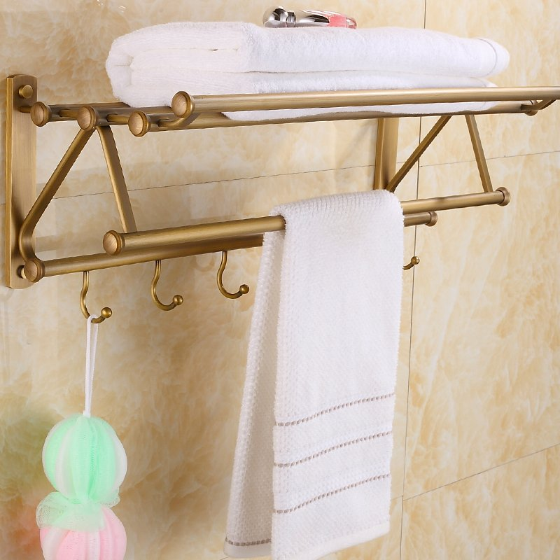 buy luxurious vintage hardware accessories wall mounted bathroom shelf towel racks hook metal brass double layer bathroom shelves from
