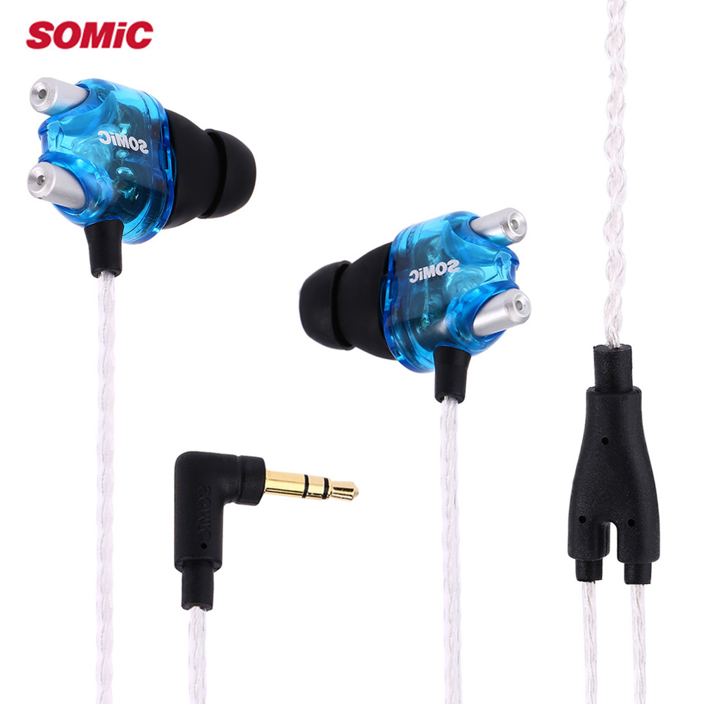 Original Somic V4 Stereo In-Ear Earphones Double Moving-Coil Ear Buds Wired Dynamic Headsets For Mobile Phone