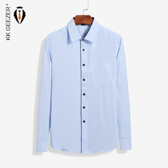 49be577a405 2016 Nuevo diseño para hombre Camisas de traje azul camisa casual Camisa  blanca hombres de negocios