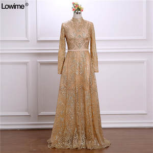 Lowime 2018 Evening Dresses Lace Long Sleeves Gowns f89c9f21f4d5