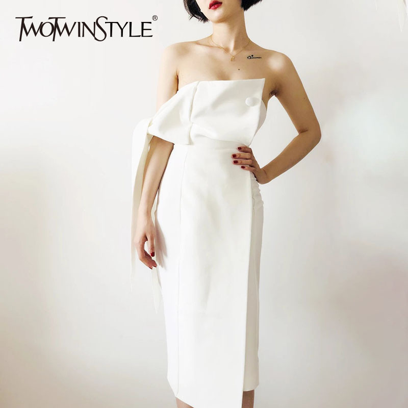 TWOTWINSTYLE Fashion White Party Dresses Women Sleeveless Strapless Lace up Sexy Dress Female Bodycon Clothing 2019