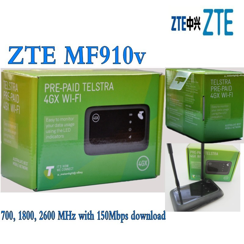 Unlocked ZTE Hotspot MF 910v 150Mbps Pocket 4G Mobile Modem Router LTE plus 2pcs antenna