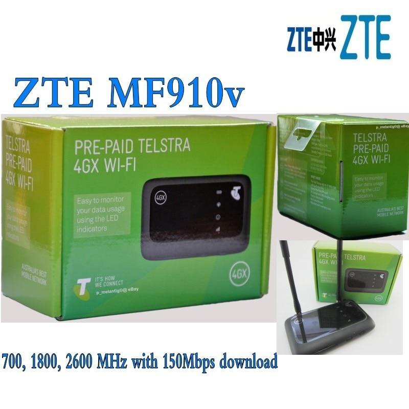 Unlocked ZTE Hotspot MF 910v 150Mbps Pocket 4G Mobile Modem Router LTE plus 2pcs antenna