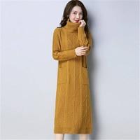 2018 New Autumn Winter Turtleneck Knitting Women Fashion Long Sweater Dresses Female Warm Long Sleeve Plus Size 3XL Pullover F91