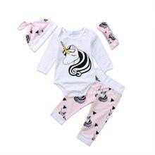4PCS Infant Baby Girls Unicorn Cotton Romper Tops Jumpsuit Pants Outfits Set