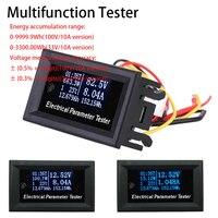 Multifuncional oled voltímetro amperímetro medidor de energia termômetro temporizador bateria capacidade testador dc 33/110 v 3/10a fonte alimentação