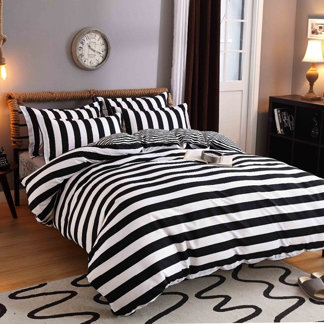 Charming Black And White Stripes Bedding Set Polyester Bed Sheets Duvet Cover Flat  Bedspread Sets Home Textile