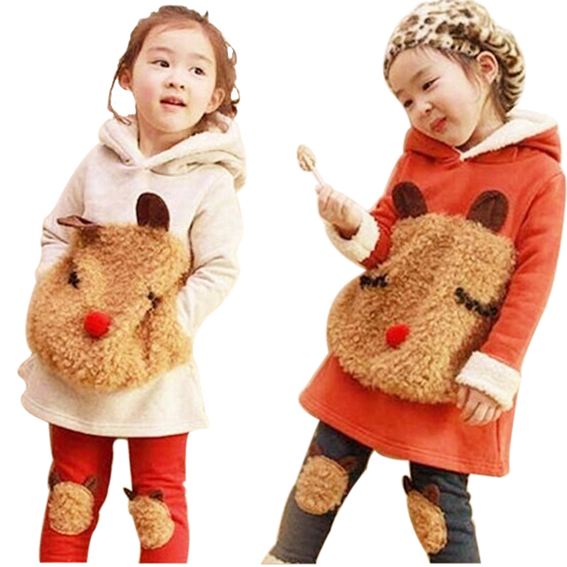 2017 Girls Children Hoodies Winter Wool Sherpa Baby Sports Suit New Jacket Sweater Coat & Pants Thicken Kids Clothes Sets 2017 girls children hoodies winter wool