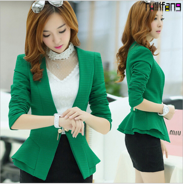 Free shipping Women jacket candy color slim suit blazers elegance colorful one button style FOLDABLE SLEEVES casual coat
