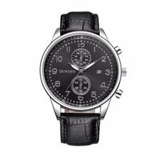 OUKESHI Brand New Fashion Watch Men Leather Strap Calendar British Business Style Casual Quartz Watch Male relogio masculino
