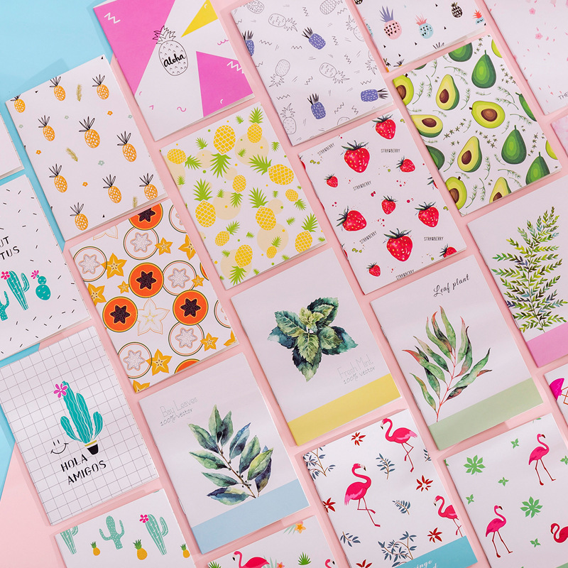 1 Pcs Mini Fruit Cactus Notebook Cute Flamingo Note Book Diary Day Planner Kawaii Journal Stationery gift School Supplies