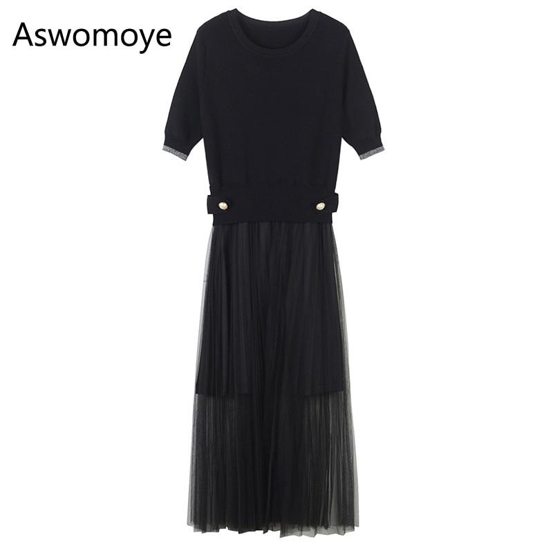 2018 Summer New Stylish Women Dress Top Knitted Pullover Bottom Yarn Slim Dress Short Sleeve O-neck Black Color