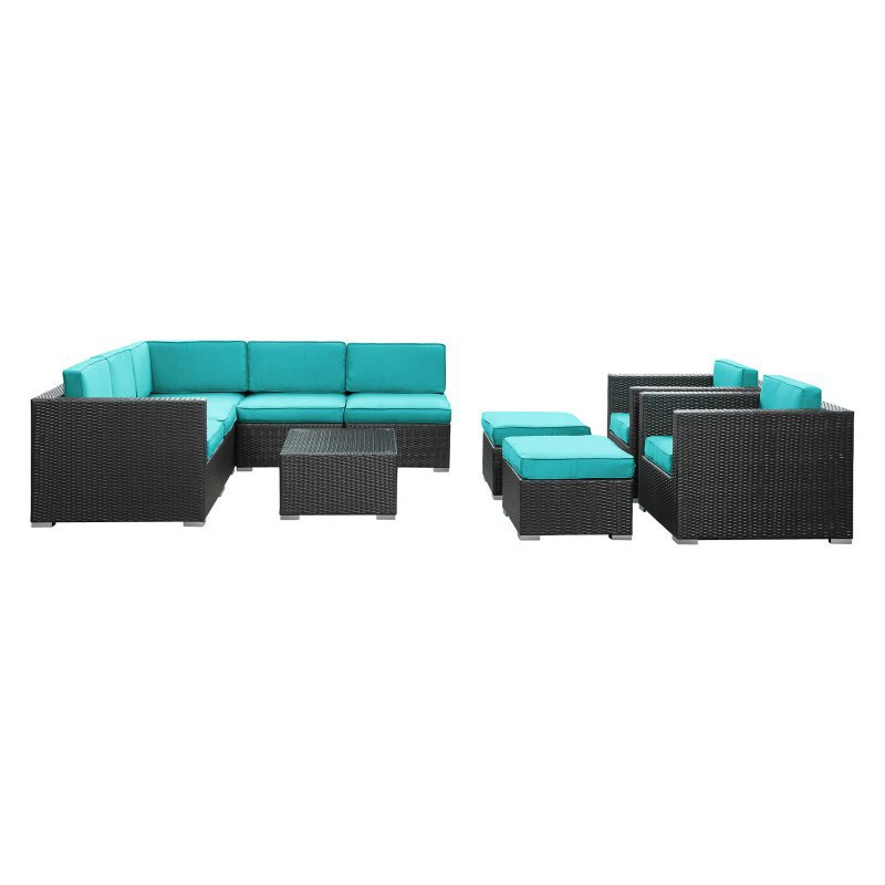 New style deep seating wicker Aluminium frame rattan garden sofa set