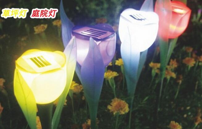 Outdoor Waterproof Yard Lawn Garden Path Yard Solar Power Lamp Tulip Landscape Flower Light Festive Christmas Decoration