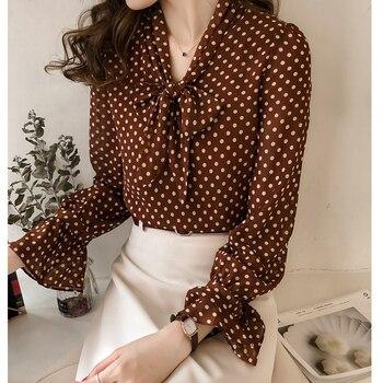 43c1016141c86cf 2019 новые женские рубашки с широким рукавом печати горошек шифон Хан  фанчао порт вкус блузка рубашка коричневый черный 1501