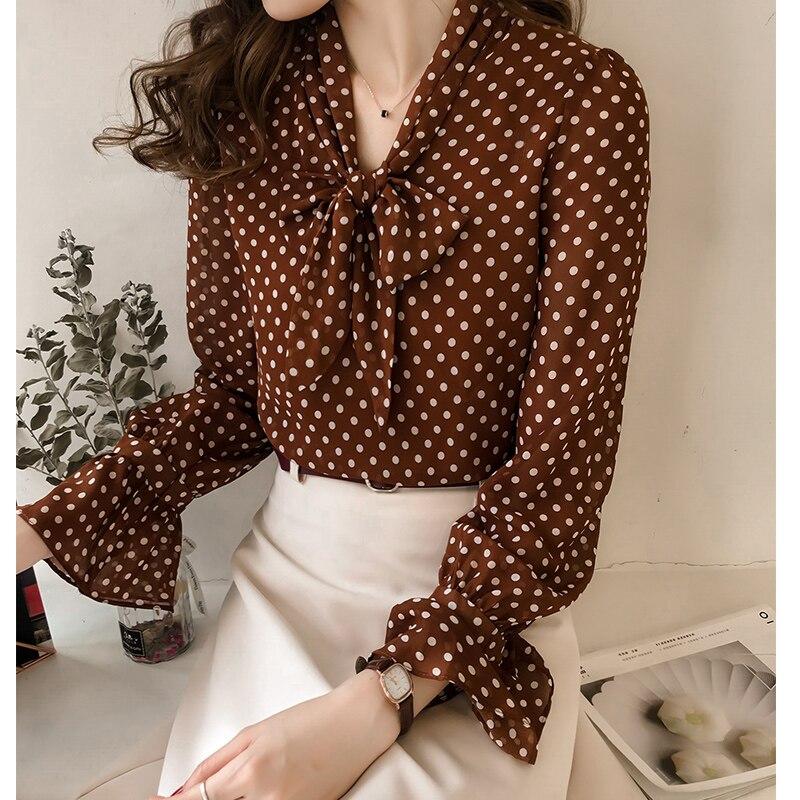 2019 New Women Shirts Full Sleeve Print Polka Dot Chiffon Han Fanchao Port Taste Blouse Shirt Brown Black 1501