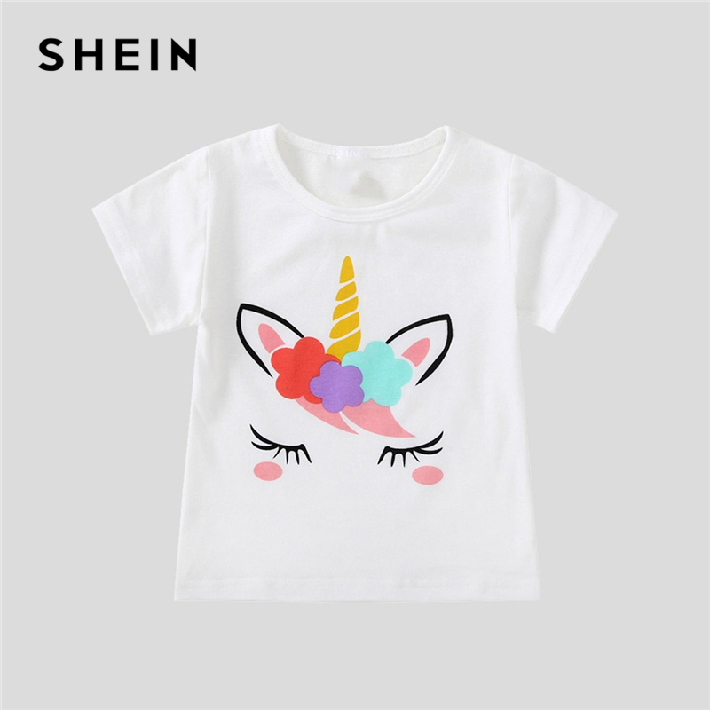 SHEIN Kiddie White Cartoon Print Casual T-Shirt Toddler Girl Tops 2019 Spring Fashion Short Sleeve Girls Shirts Kids Tee 2015 summer hello kitty baby girls mini dress toddler kids cartoon cotton t shirt sleeveless children 1 6y