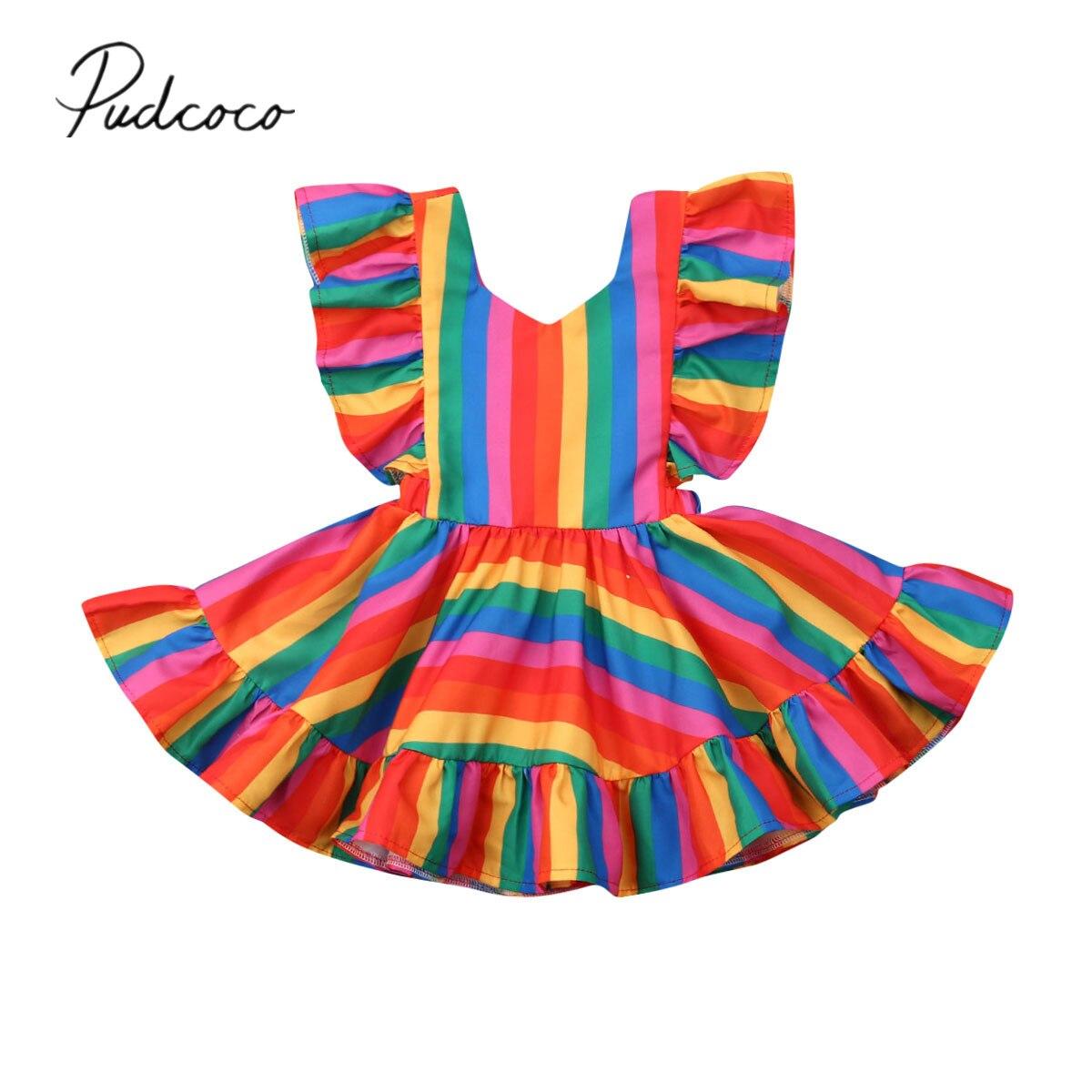 c10174467 2019 Baby Summer Clothing Kids Baby Girl Rainbow Dress Ruffle Sleeve  Striped Mini A-Line