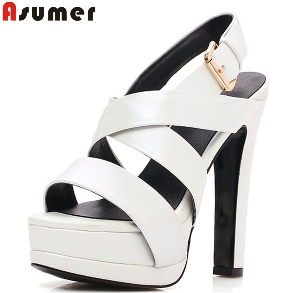 ASUMER black white fashion summer ladies shoes super high prom wedding shoes platform women genuine leather high heels sandals women creepers shoes 2015 summer breathable white gauze hollow platform shoes women fashion sandals x525 50