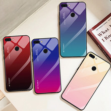 For Honor 10 case Gradient Tempered Glass Phone Case Huawei 8A 8X Max Note Color Protective phone Cover coque