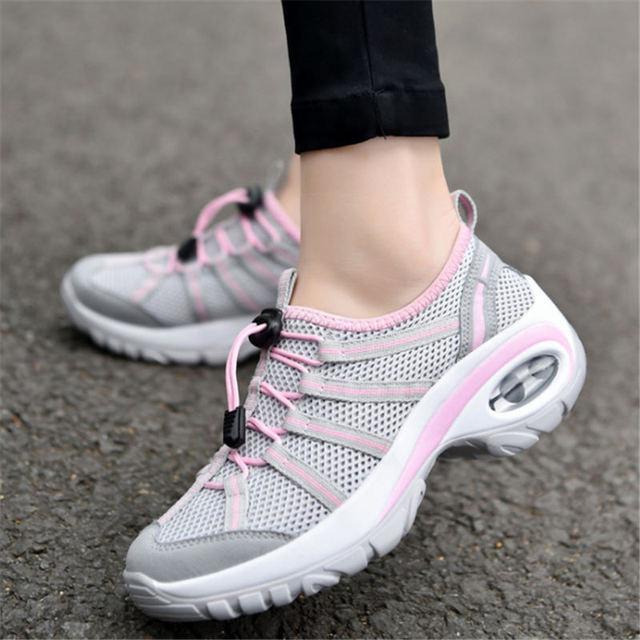 ef936aa25e6 Verano 2018 zapatillas mujer cuña zapatos para correr para mujer zapatos  deportivos mujer Air cushion Walking