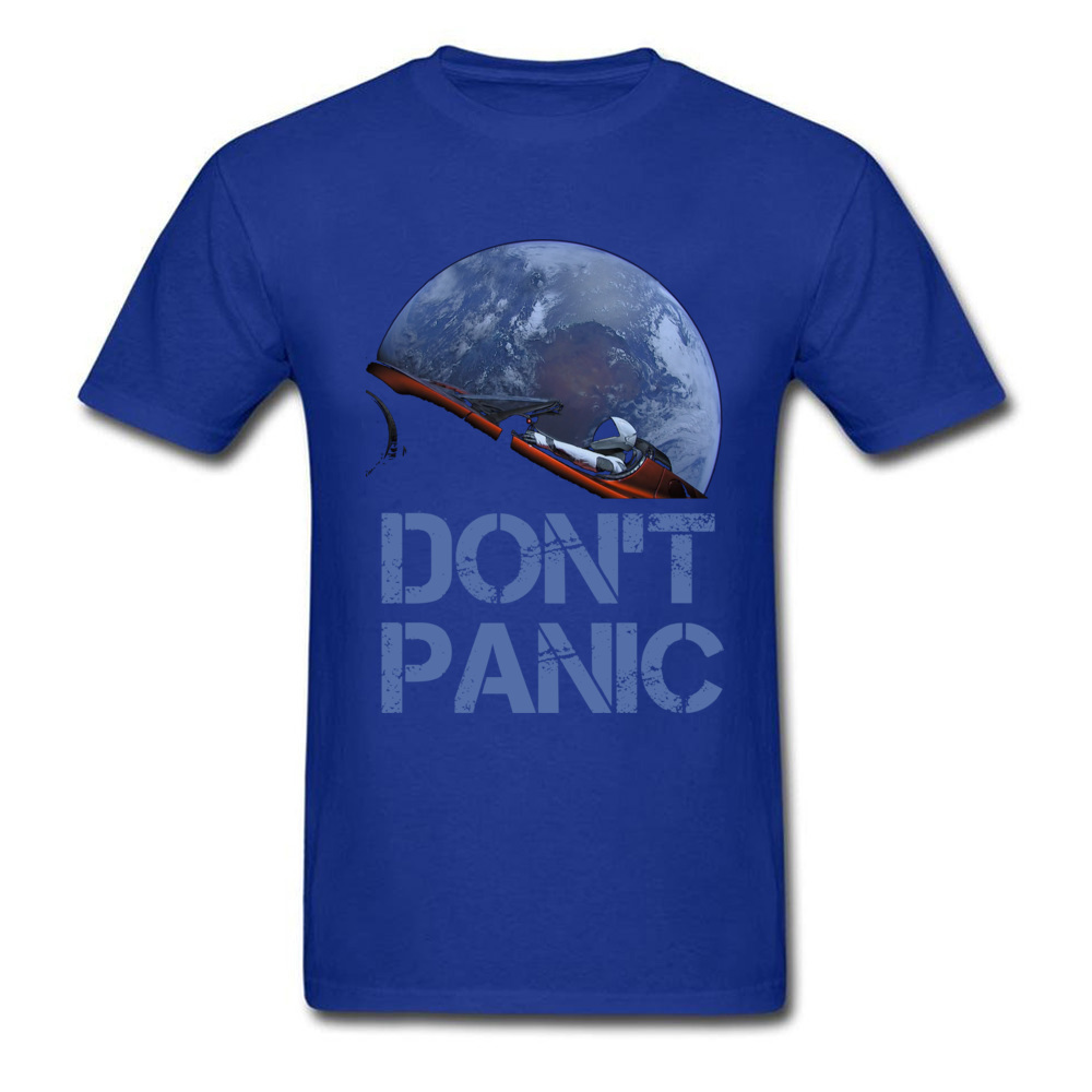 Dont Panic Starman O-Neck T Shirts Summer Tops Tees Short Sleeve New Coming All Cotton Gift Tops T Shirt Europe Men Dont Panic Starman blue