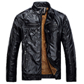 2017 Winter Jacket Men Leather Jacket Mens Thickening Wool Windbreak Waterproof Skin Lamb Fur Trench Coat leather velvet parka