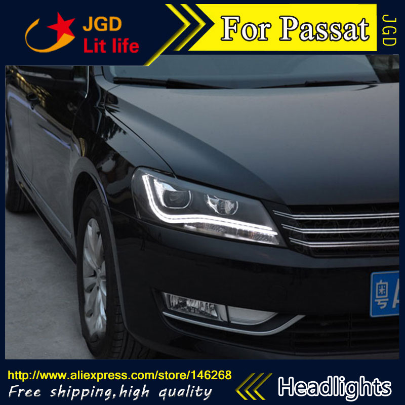 купить Free shipping ! Car styling LED HID Rio LED headlights Head Lamp case for VW Passat 2011-2015 Bi-Xenon Lens low beam недорого