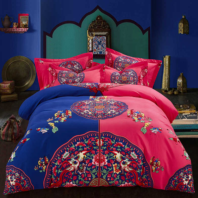 Hongbo 4 Pcs/Set Luxury Bedding Set Red Pink Wedding Bed 100% Cotton Bed Spread Duvet Cover Set