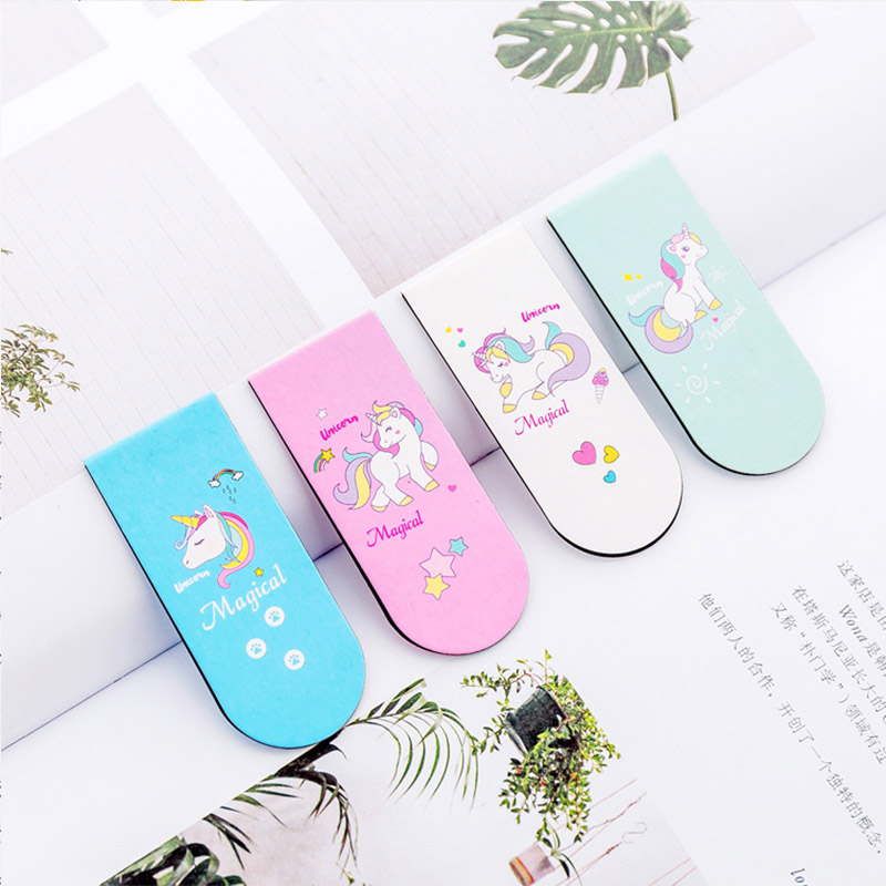 Cute Kawaii Pink Girl Unicorn Magnet Bookmark for Books Paper Clips Cartoon Mini Book Marker for Student Gift School Stationery