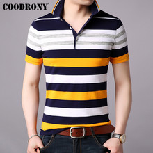 COODRONY T Shirt Men Business Casual Turn-down Collar Mens 2019 Spring Summer Short Sleeve T-shirt Striped Top S95020