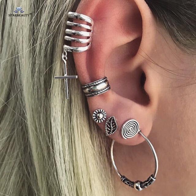 Starbeauty 6pcs Lot Cute Leaf Cc Clip Ear Piercing Helix Cartilage Tragus Pircing Simple