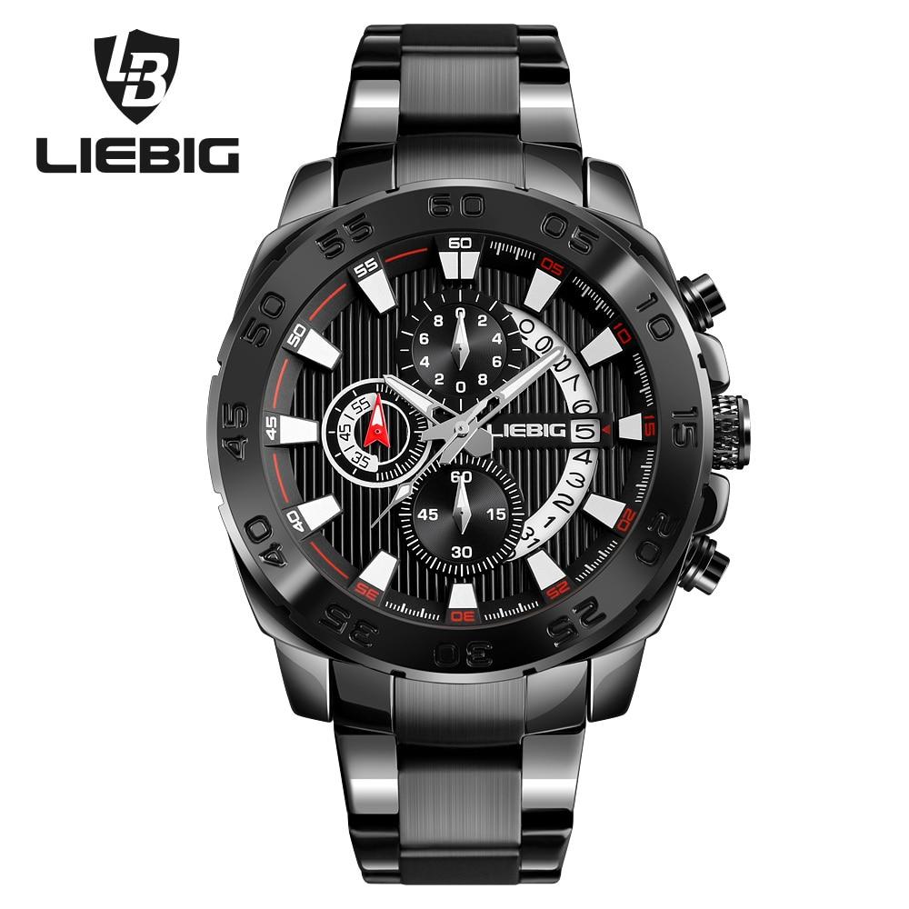 LIEBIG Men Fashion Watches Stopwatch Military Outdoor Sport Watch Waterproof Alarm Quartz Wristwatches Clock Relogio Masculino